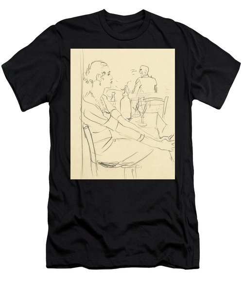 Illustration Of A Woman Sitting Down Men's T-Shirt (Athletic Fit)