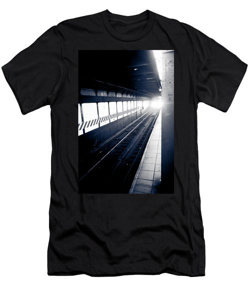 Men's T-Shirt (Slim Fit) featuring the photograph Incoming At The Subway - New York City by Peta Thames