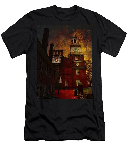 Independence Hall Philadelphia Let Freedom Ring Men's T-Shirt (Slim Fit) by Jeff Burgess
