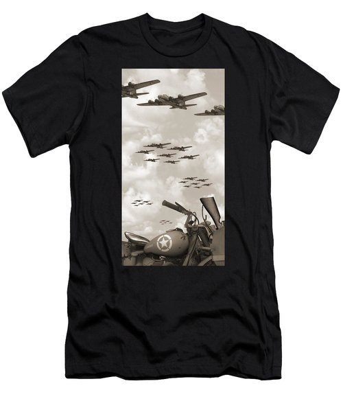 Indian 841 And The B-17 Panoramic Sepia Men's T-Shirt (Athletic Fit)