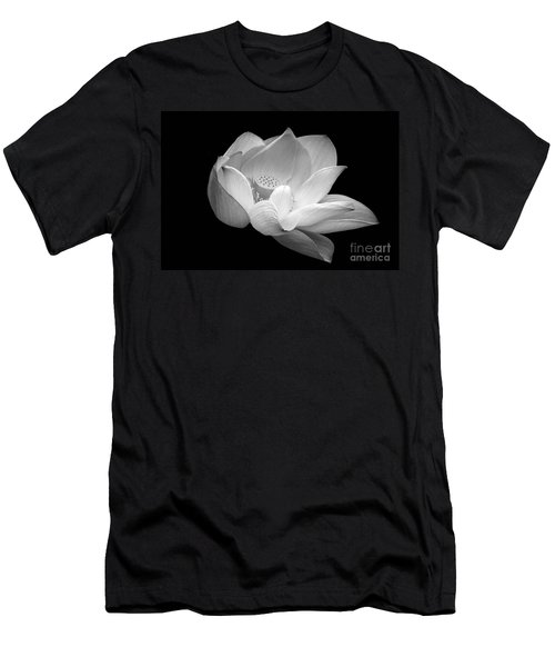 Indian Sacred Lotus In Black And White Men's T-Shirt (Athletic Fit)