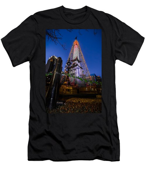 Indiana - Soldiers And Sailers Monument With Lights Men's T-Shirt (Athletic Fit)