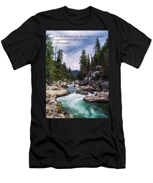 Inspirational Bible Scripture Emerald Flowing River Fine Art Original Photography Men's T-Shirt (Athletic Fit)