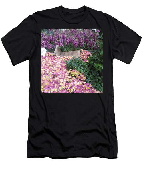 Men's T-Shirt (Slim Fit) featuring the photograph Interior Decorations Butterfly Gardens Vegas Golden Yellow Purple Flowers by Navin Joshi