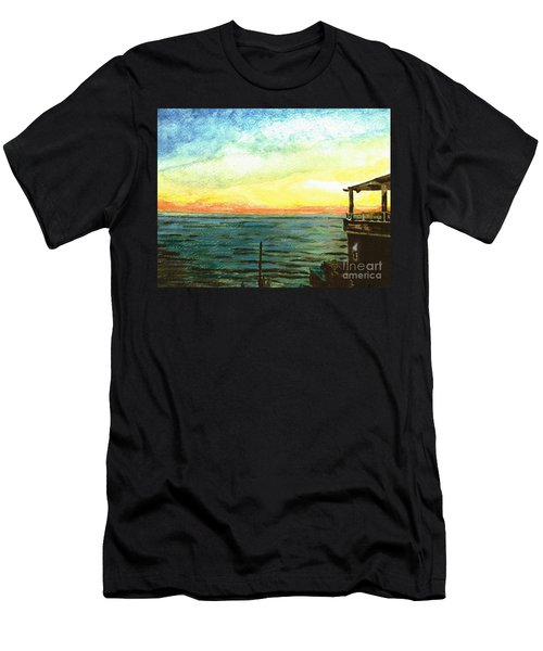 Men's T-Shirt (Slim Fit) featuring the painting Ionian Sea Zanti Greek Island by Teresa White