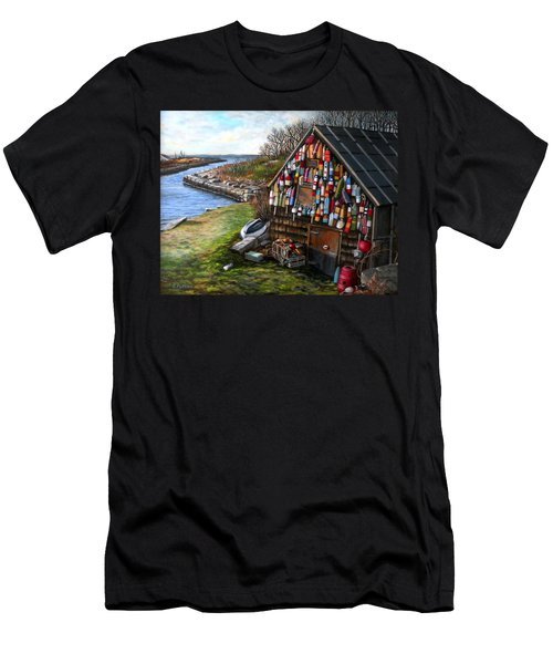 Ipswich Bay Wooden Buoys Men's T-Shirt (Slim Fit) by Eileen Patten Oliver