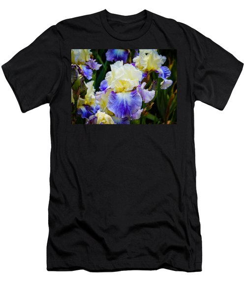 Men's T-Shirt (Slim Fit) featuring the photograph Iris In Blue And Yellow by Patricia Babbitt