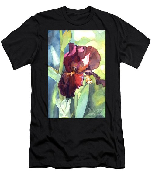 Watercolor Of A Tall Bearded Iris Called Sultan's Palace In Red And Burgundy Men's T-Shirt (Athletic Fit)