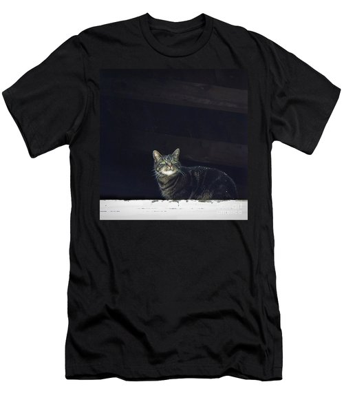 Men's T-Shirt (Slim Fit) featuring the photograph It's Snowing -- Looking Out The Barn Window by Joy Nichols