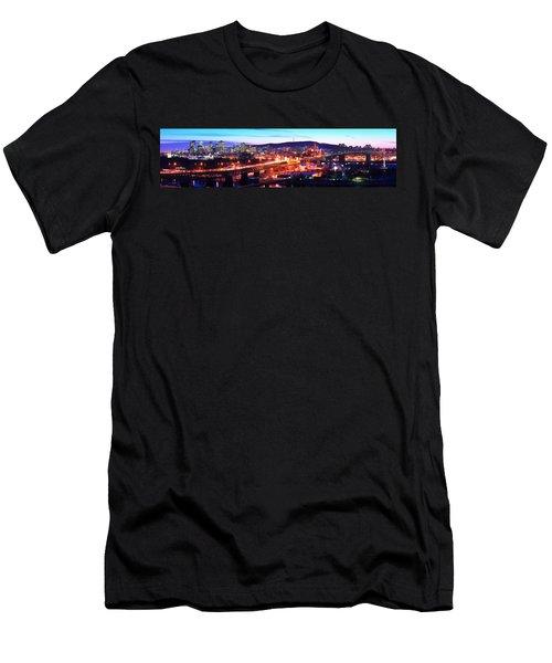 Jacques Cartier Bridge With City Lit Men's T-Shirt (Athletic Fit)