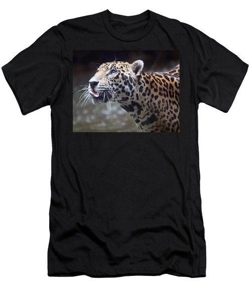 Men's T-Shirt (Slim Fit) featuring the photograph Jaguar Sticking Out Tongue by Shoal Hollingsworth