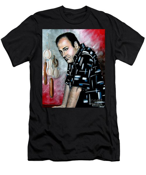 Men's T-Shirt (Slim Fit) featuring the painting James Gandolfini As Tony Soprano by Patrice Torrillo