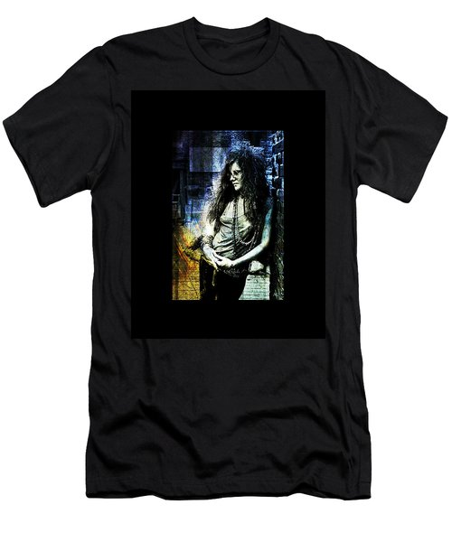 Janis Joplin - Blue Men's T-Shirt (Slim Fit) by Absinthe Art By Michelle LeAnn Scott