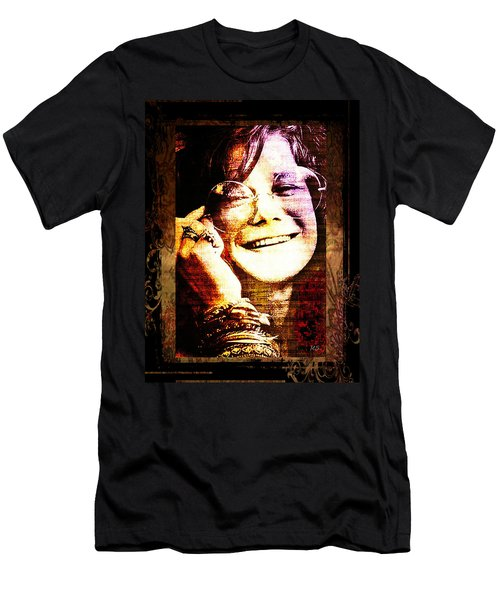 Janis Joplin - Upclose Men's T-Shirt (Slim Fit) by Absinthe Art By Michelle LeAnn Scott