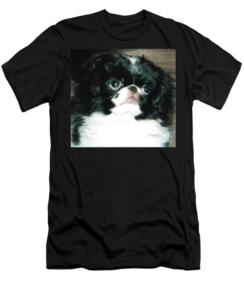 Japanese Chin Puppy Portrait Men's T-Shirt (Slim Fit) by Jim Fitzpatrick