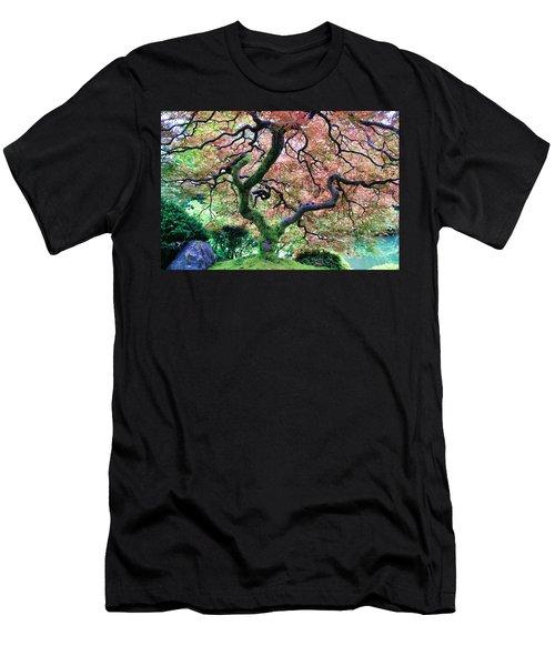 Japanese Tree In Garden Men's T-Shirt (Slim Fit) by Athena Mckinzie