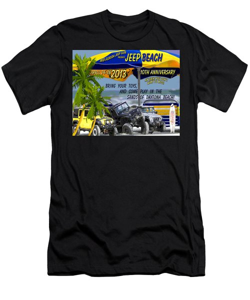 Men's T-Shirt (Slim Fit) featuring the photograph Jeep Beach 2013 Welcomes All Jeepers by DigiArt Diaries by Vicky B Fuller