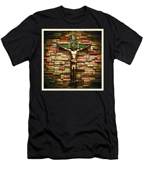 Jesus Is His Name Cream Border Men's T-Shirt (Athletic Fit)