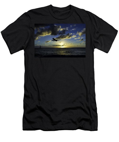 jetBlue landing at St. Maarten Men's T-Shirt (Slim Fit) by David Gleeson