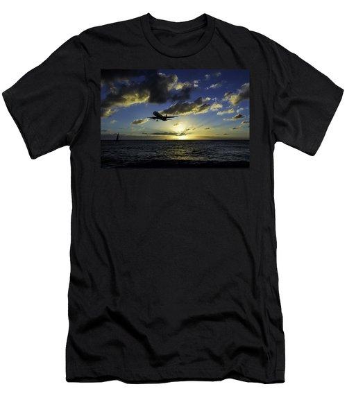 jetBlue landing at St. Maarten Men's T-Shirt (Athletic Fit)