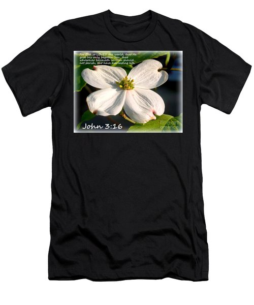 John 3-16/dogwood Legend Men's T-Shirt (Slim Fit) by Kathy  White