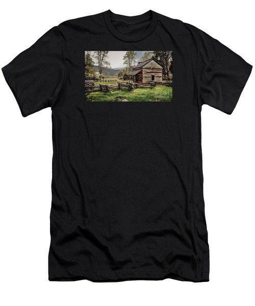 Men's T-Shirt (Slim Fit) featuring the photograph John Oliver's Cabin In Spring. by Debbie Green