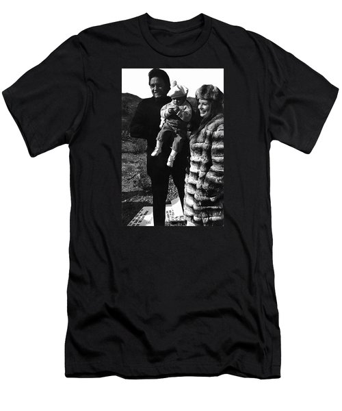 Men's T-Shirt (Slim Fit) featuring the photograph Johnny Cash And Family Old Tucson Arizona 1971 by David Lee Guss