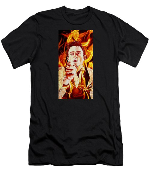 Johnny Cash And It Burns Men's T-Shirt (Athletic Fit)