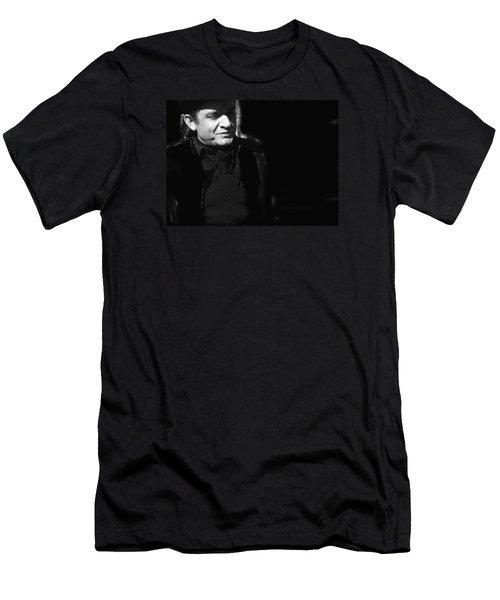 Men's T-Shirt (Slim Fit) featuring the photograph Johnny Cash Film Noir Homage Old Tucson Arizona 1971 by David Lee Guss