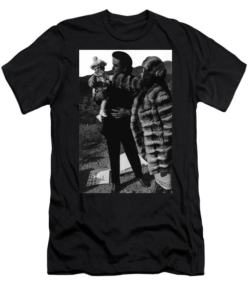 Men's T-Shirt (Slim Fit) featuring the photograph Johnny Cash Flesh And Blood Music Homage Cash Family Old Tucson Az by David Lee Guss