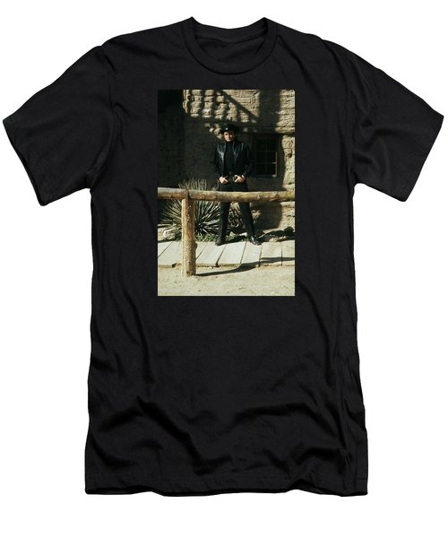 Men's T-Shirt (Slim Fit) featuring the photograph Johnny Cash Gunfighter Hitching Post Old Tucson Arizona 1971 by David Lee Guss
