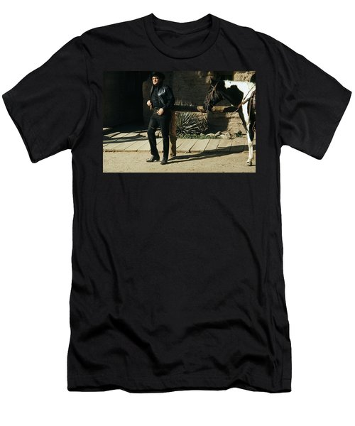 Men's T-Shirt (Slim Fit) featuring the photograph Johnny Cash Horse Old Tucson Arizona 1971 by David Lee Guss