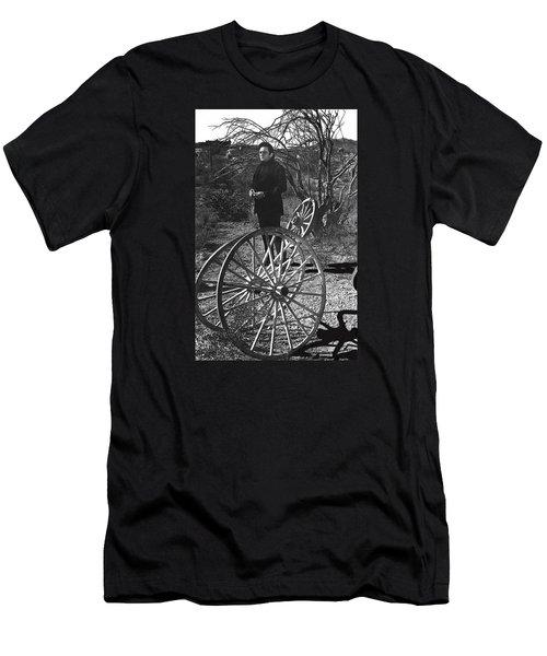Men's T-Shirt (Slim Fit) featuring the photograph Johnny Cash  Meditating Wagon Wheel Graveyard Old Tucson Arizona 1971 by David Lee Guss