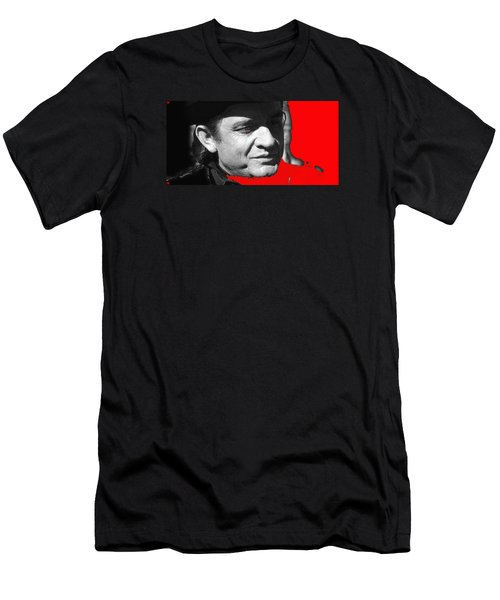 Men's T-Shirt (Slim Fit) featuring the photograph Johnny Cash Music Homage Ring Of Fire Old Tucson Arizona 1971 by David Lee Guss