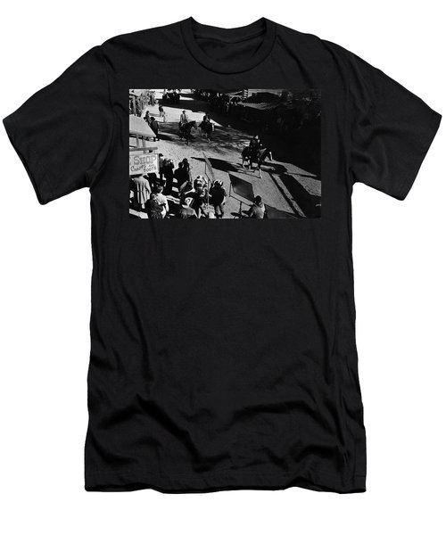 Men's T-Shirt (Slim Fit) featuring the photograph Johnny Cash Riding Horse Filming Promo Main Street Old Tucson Arizona 1971 by David Lee Guss