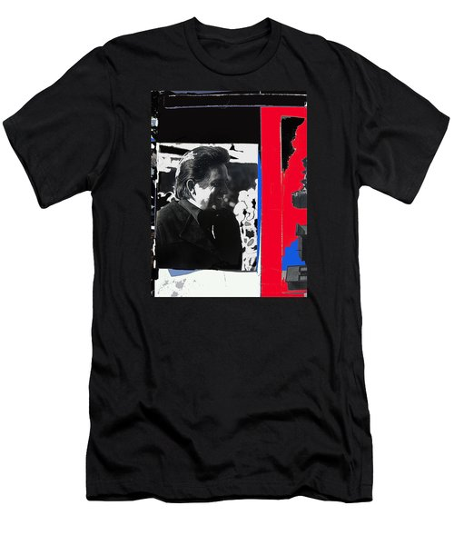 Men's T-Shirt (Slim Fit) featuring the photograph Johnny Cash  Smiling Collage 1971-2008 by David Lee Guss