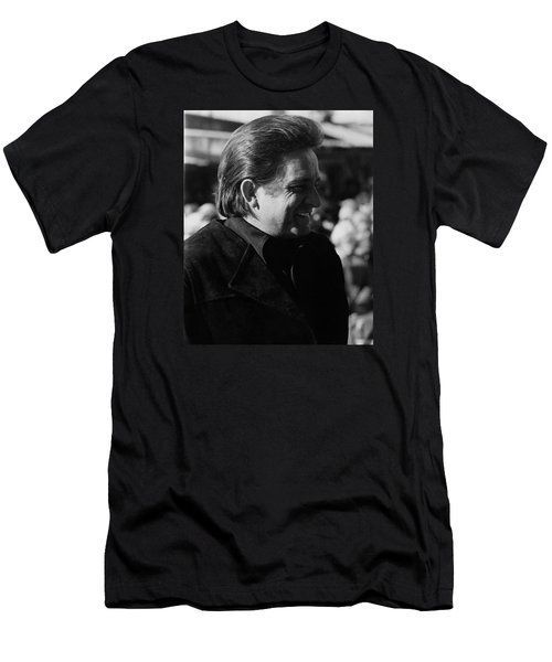 Men's T-Shirt (Slim Fit) featuring the photograph Johnny Cash Smiling Old Tucson Arizona 1971 by David Lee Guss