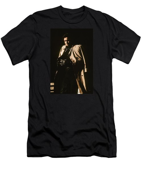 Men's T-Shirt (Slim Fit) featuring the photograph Johnny Cash Trench Coat Variation  Old Tucson Arizona 1971 by David Lee Guss