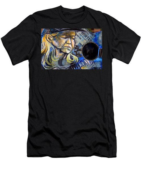 Johnny Winter Painted Guitar Men's T-Shirt (Slim Fit) by Fiona Kennard