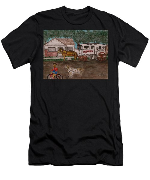 Johnsons Milk Wagon Pulled By A Horse  Men's T-Shirt (Athletic Fit)
