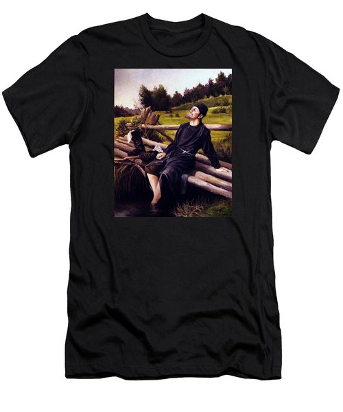 Men's T-Shirt (Slim Fit) featuring the painting Joy Of Life by Mikhail Savchenko