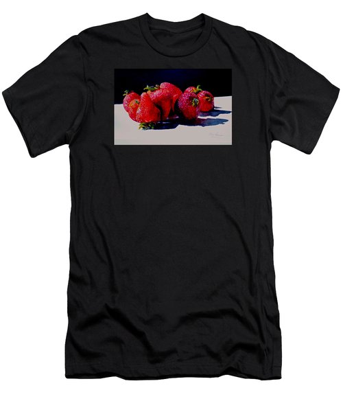 Men's T-Shirt (Slim Fit) featuring the painting Juicy Strawberries by Sher Nasser