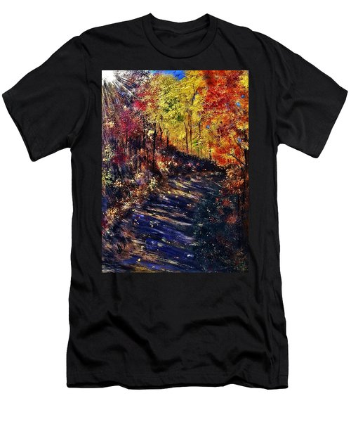 Men's T-Shirt (Slim Fit) featuring the painting Just The Sound Of The Forest... by Cristina Mihailescu