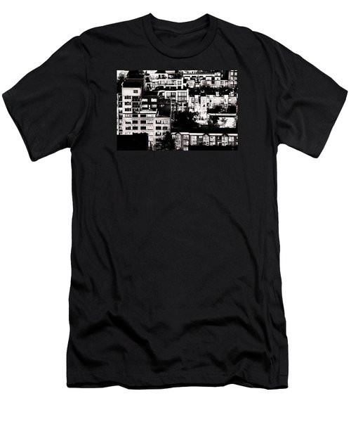 Men's T-Shirt (Slim Fit) featuring the photograph Black And White - Juxtaposed And Intimate Vancouver View At Night - Fineart Cards by Amyn Nasser