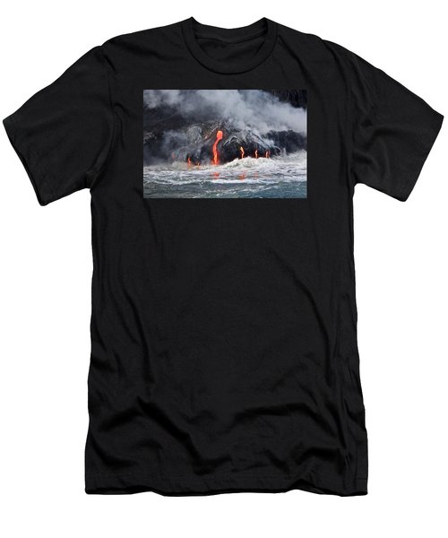 Lava Falls At Kalapana Men's T-Shirt (Slim Fit) by Venetia Featherstone-Witty