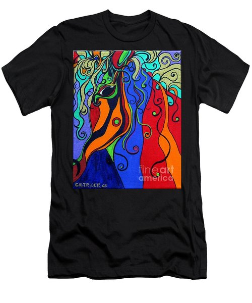 Men's T-Shirt (Slim Fit) featuring the painting Kaleidoscope Eyes by Alison Caltrider