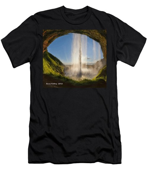 Men's T-Shirt (Slim Fit) featuring the painting Karen's Waterfalls by Bruce Nutting