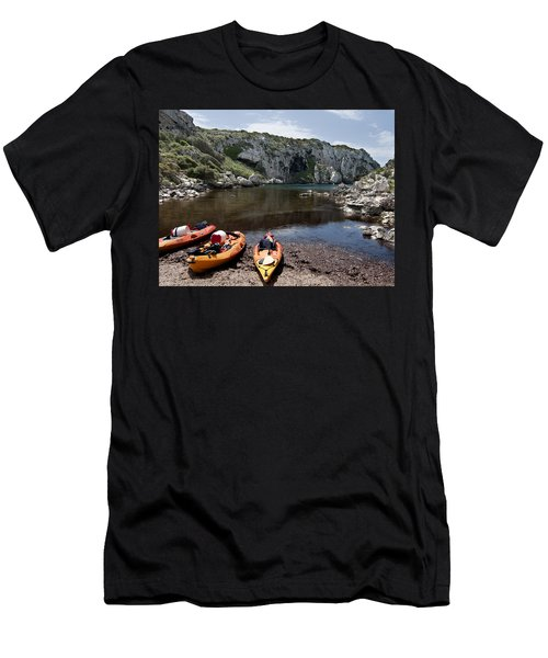 Kayak Time - The Landscape Of Cales Coves Menorca Is A Great Place For Peace And Sport Men's T-Shirt (Slim Fit) by Pedro Cardona