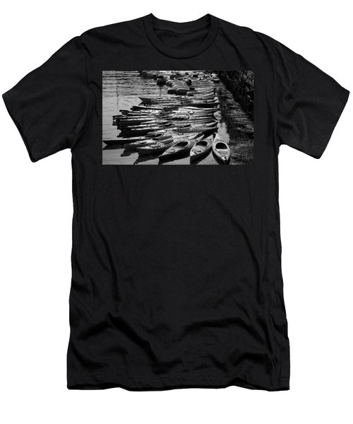 Kayaks At Rockport Black And White Men's T-Shirt (Athletic Fit)