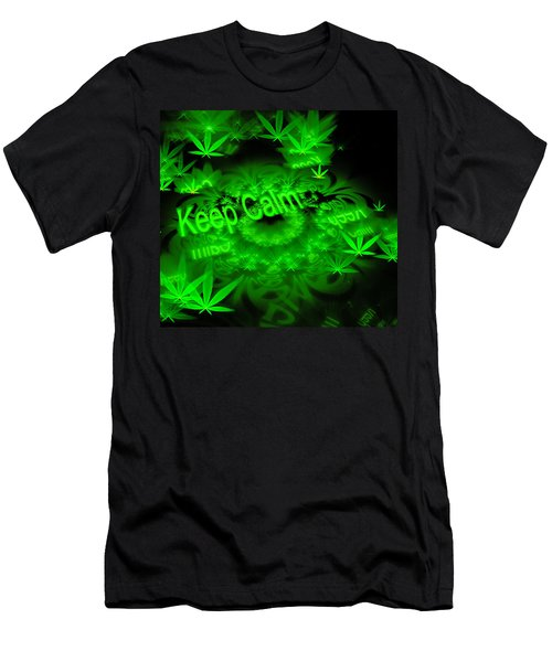 Keep Calm - Green Fractal Weed Art Men's T-Shirt (Athletic Fit)
